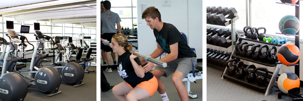 Exercise equipment, students exercising
