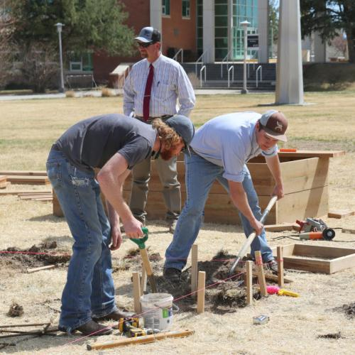 Construction Trades and Renewable Energy helping build the new Learning Garden